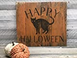 Happy Halloween Black Cat Reclaimed Wood Pallet Sign Home Decor 16x14
