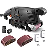 TACKLIFE Belt Sander 3 ×18-Inch with 13Pcs Sanding Belts, Bench Sander with Variable-speed Control, Fixed Screw Clamps, Dust Box, Vacuum Adapters, 10Feet(3M) Length Power Cord -...