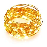 TaoTronics LED String Lights 33ft with 100 LEDs, Waterproof Outdoor & Indoor Decorative Lights for Bedroom, Garden, Patio, Parties. UL588 and TUVus Approved ( Copper Wire Lights,...
