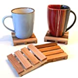 Wood Miniature Cargo Pallet Coasters with Holder