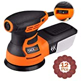 TACKLIFE Orbital Sander, 3.0A 5-Inch Random Orbit Sander with 12Pcs Sandpapers, 6 Variable Speed 13000RPM Electric Sander Machine, High Performance Dust Collection System, Ideal...