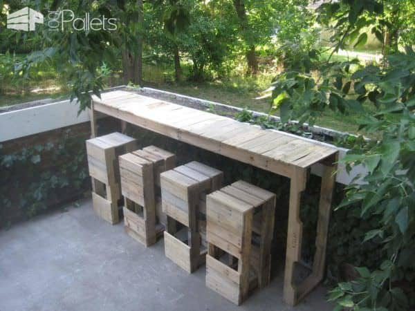 Outdoor Pallets Bar & Pallet Bar Stools DIY Pallet Bars Lounges & Garden Sets