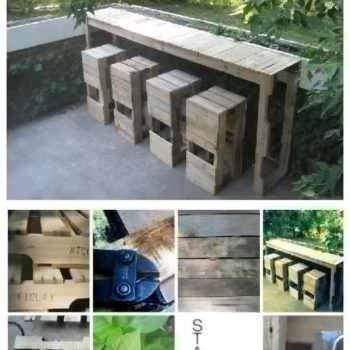 Outdoor Pallets Bar & Pallet Bar Stools
