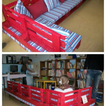 Pallet Reading Corner For A School