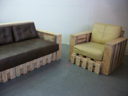 Pallet Sofa & Armchair from Repurposed Pallets