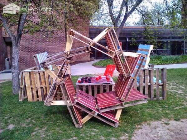 Pallets giant chess park installation 1001 pallets - Lounger for the garden crossword ...