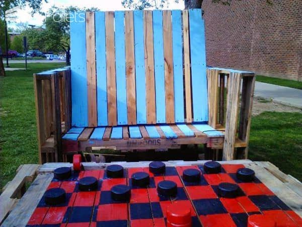 Pallets Giant Chess Park Installation Lounges & Garden SetsPallet Benches, Pallet Chairs & Stools