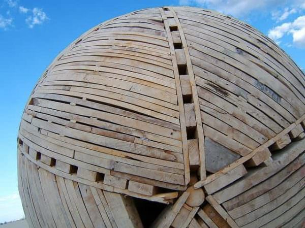 Pallets Sphere at Burning Man Festival Pallet Store, Bar & Restaurant Decorations