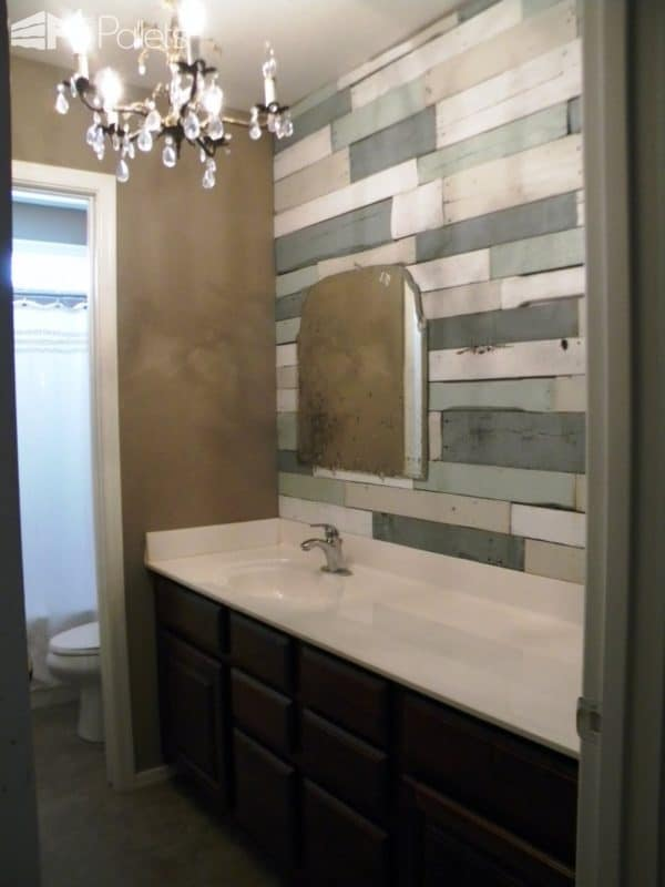 Recycled Pallets as Bathroom Wall Pallet Walls & Pallet Doors