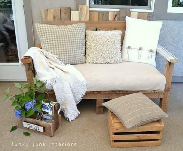 Rustic, Cozy Pallet Outdoor Furniture Lounges & Garden Sets Pallet Benches, Pallet Chairs & Stools