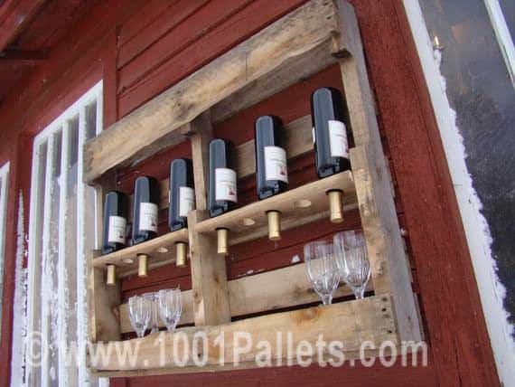 Upcycled Pallet Into Wine Rack Pallet Shelves & Pallet Coat Hangers