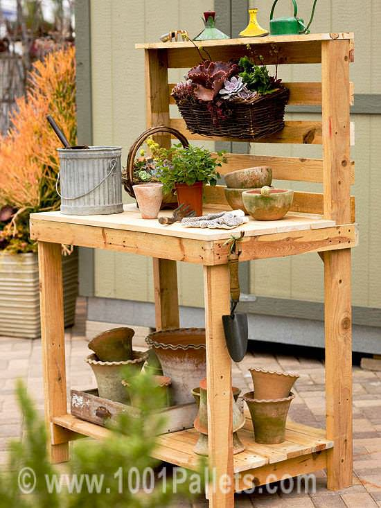 potting bench Pallet garden potting bench in outdoor garden  with Planter Bench