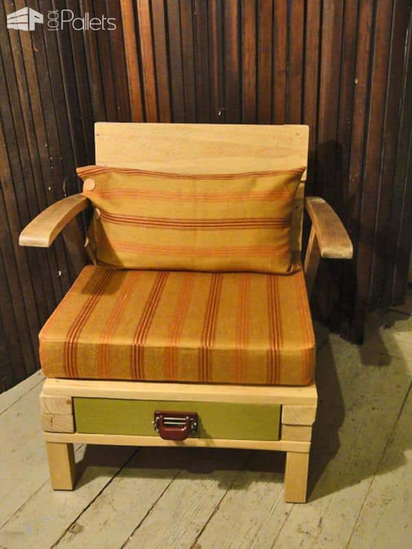 Lounge Chair from Recycled Pallet with Drawer Pallet Benches, Pallet Chairs & Stools