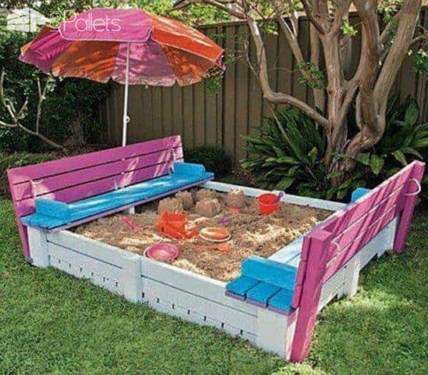 Kids Sandpit Made Out of Pallets Fun Pallet Crafts for Kids Pallets in the Garden