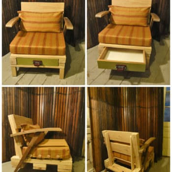 Lounge Chair from Recycled Pallet with Drawer