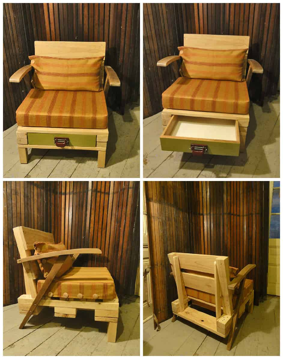 Lounge chair from recycled pallet with drawer 1001 pallets - Lounger for the garden crossword ...