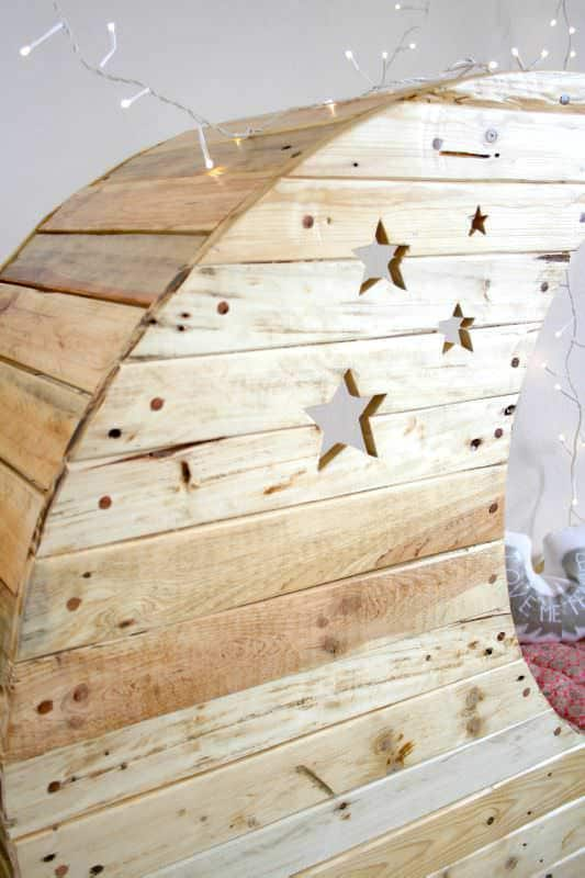 Moon Cradle Made Out of Wooden Pallets Fun Pallet Crafts for Kids