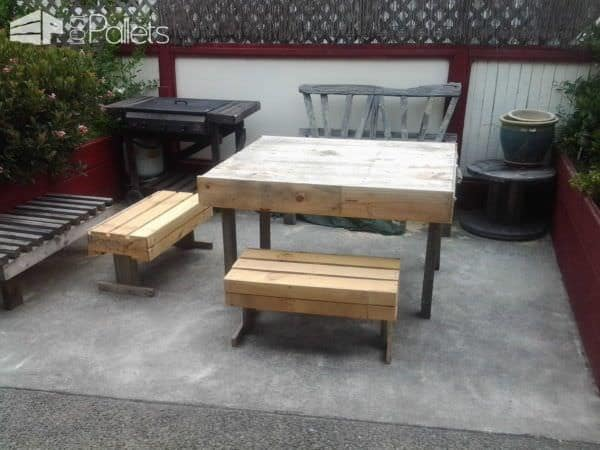 Outdoor Pallets Table & Chairs Pallet Benches, Pallet Chairs & StoolsPallet Desks & Pallet Tables