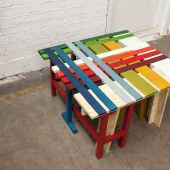 Biblioth que en palettes colored pallet bookshelf 1001 for Assemblage meuble