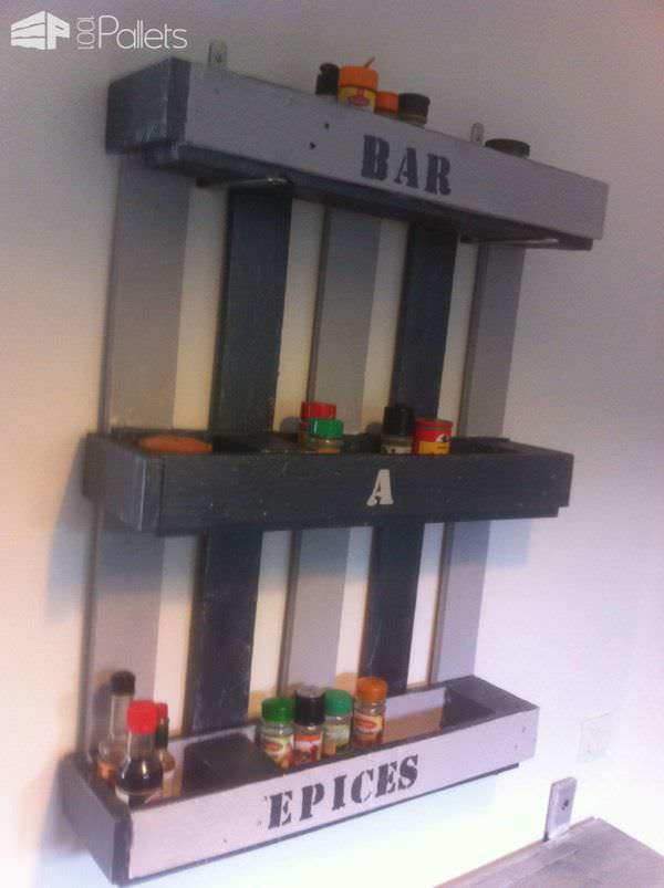 Kitchen Pallet Shelf For Spices Pallet Shelves & Pallet Coat Hangers