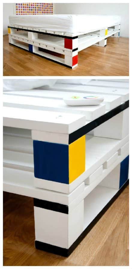 Mondrian-like Pallet Bed