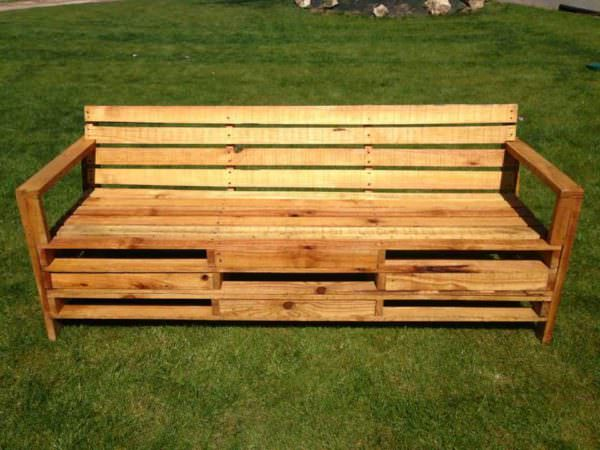 Outdoor Bench Made With 2 Meters Pallets Benches & Chairs