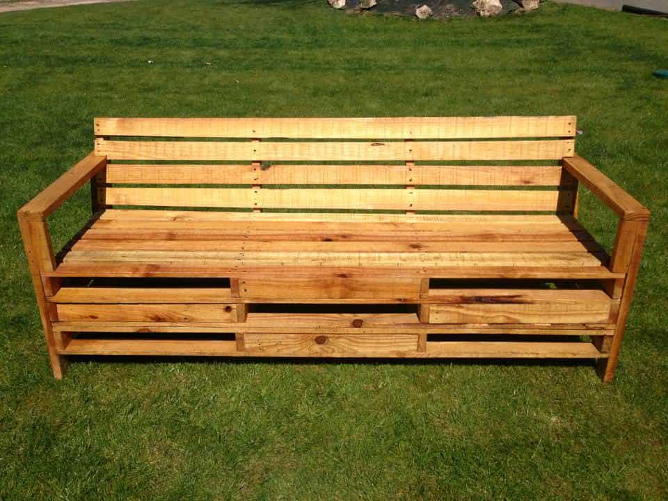 Outdoor bench made with 2 meters pallets 1001 pallets - Sillones con palets ...