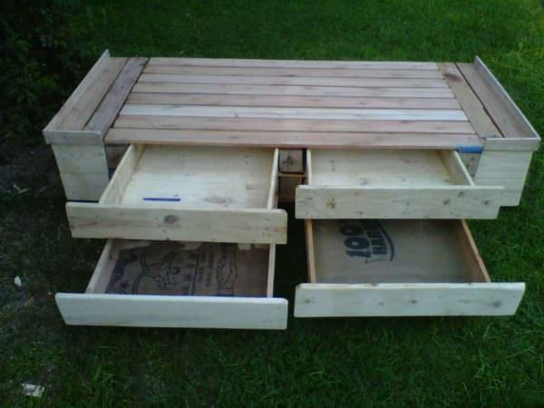 Pallet Bed With Drawers DIY Pallet Bed Headboard & Frame