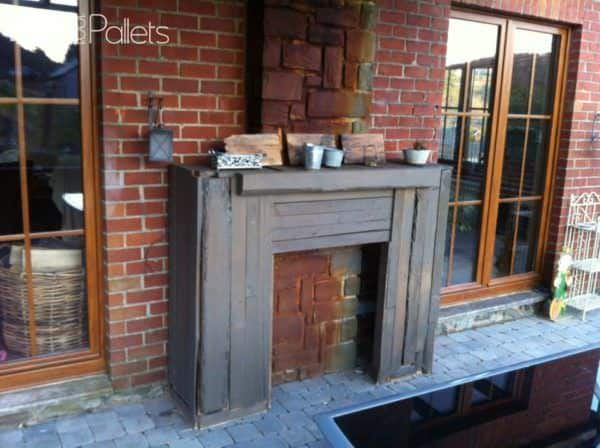 Rustic Pallet Outdoor Fireplace Faux Surround Pallet Terraces & Pallet Patios