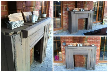 Rustic Pallet Outdoor Fireplace Faux Surround