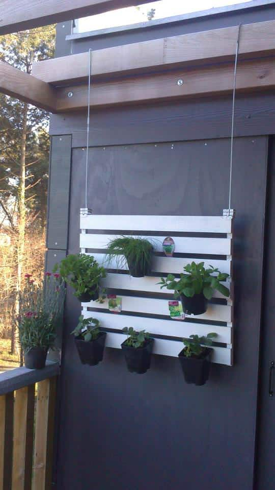 Suspended Pallet Vertical Garden For Your Balcony Pallet Planters & Compost Bins