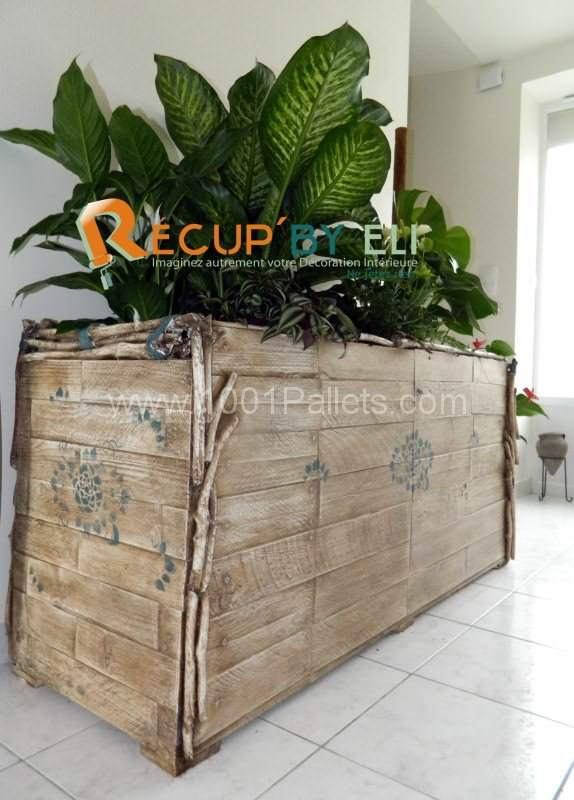 bac plante 1 574x800 Pallet Flower planters in pallet home decor pallet garden  with Planter Pallets Flowers