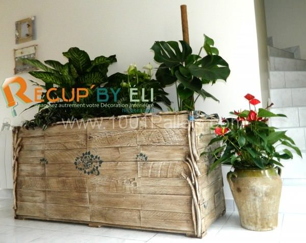 bac plante 600x476 Pallet Flower planters in pallet home decor pallet garden  with Planter Pallets Flowers