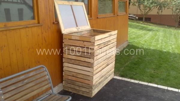 garbage shelter1 600x337 Pallet garbage bins shelter in pallet garden pallet outdoor project  with Pallets