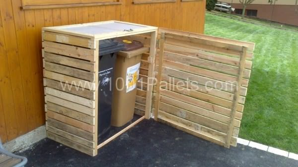 garbage shelter2 600x337 Pallet garbage bins shelter in pallet garden pallet outdoor project  with Pallets