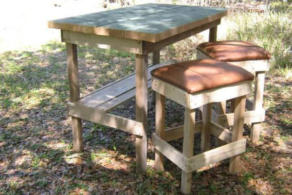 Bar And Stools From Repurposed Pallets DIY Pallet BarsPallet Benches, Pallet Chairs & Stools