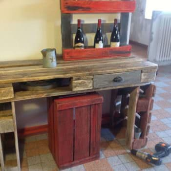 Kitchen Table & Wine Rack Out Of Recycled Pallets
