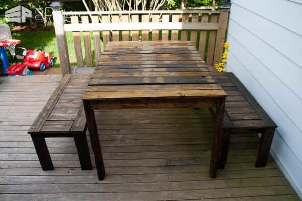 Outdoor Patio Set Made With Recycled Wooden Pallets Pallet Benches, Pallet Chairs & Stools Pallet Desks & Pallet Tables