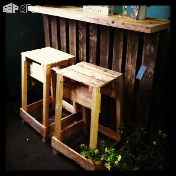 One of three Bucket Pallet Bars that also has a pair of attractive pallet bar stools.