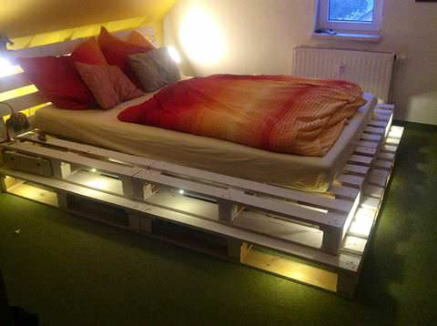 Pallet Bed With Integrated Lights DIY Pallet Bedroom - Pallet Bed Frames & Pallet Headboards