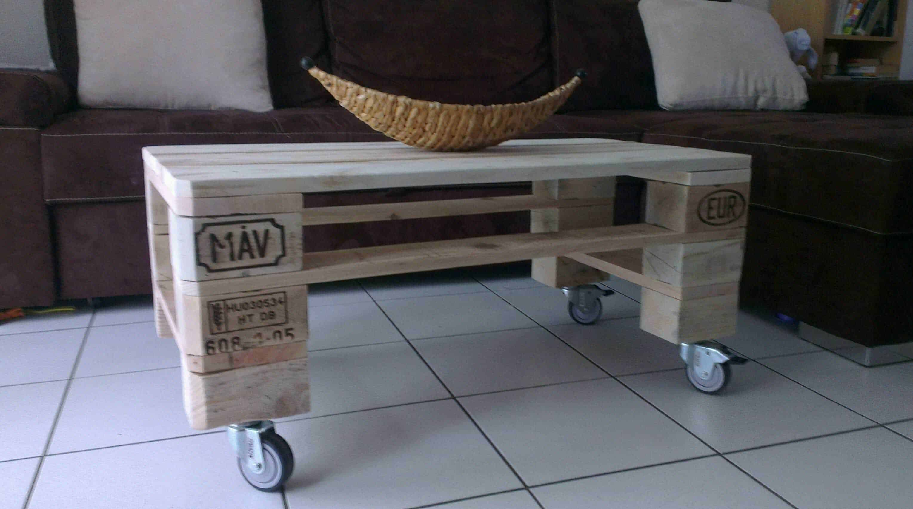 pallet coffee table table basse de salon en palette recycl e 1001 pallets. Black Bedroom Furniture Sets. Home Design Ideas