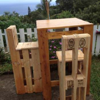 Pallet Table & Pallet Bar Stools