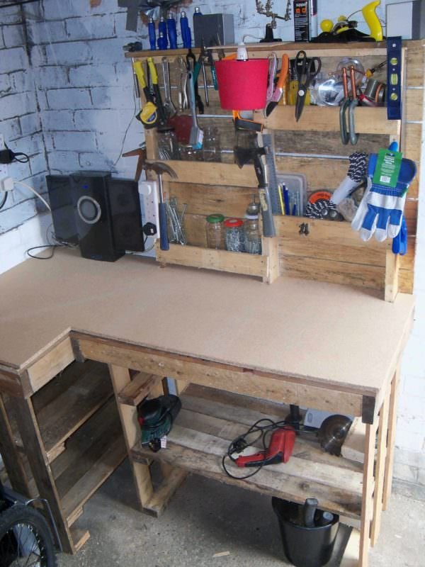 Pallet Workbench & Tool Rack Pallet Desks & Pallet TablesWorkshop and tools