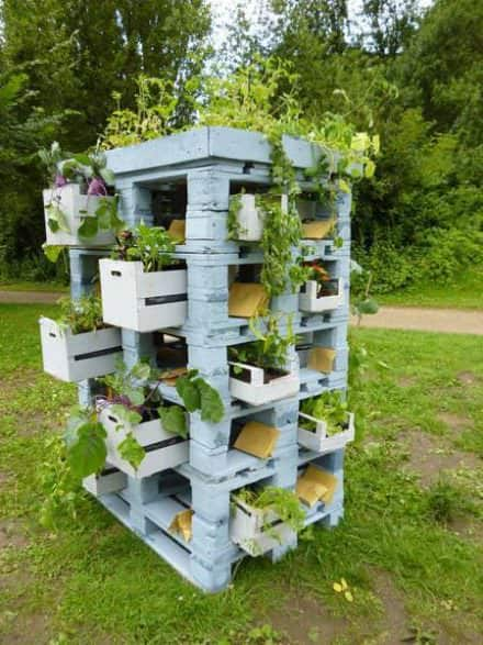 Pallets & Crates as a Planter Tower