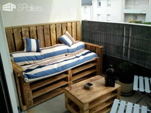 Pallets Terrace Bench & Table – Terrasse D'appartement En Palettes Lounges & Garden Sets