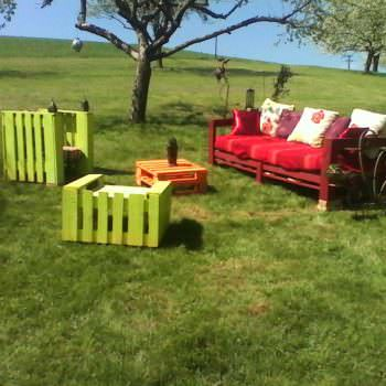 Salon De Jardin En Palettes / Colorful Pallets Garden Set