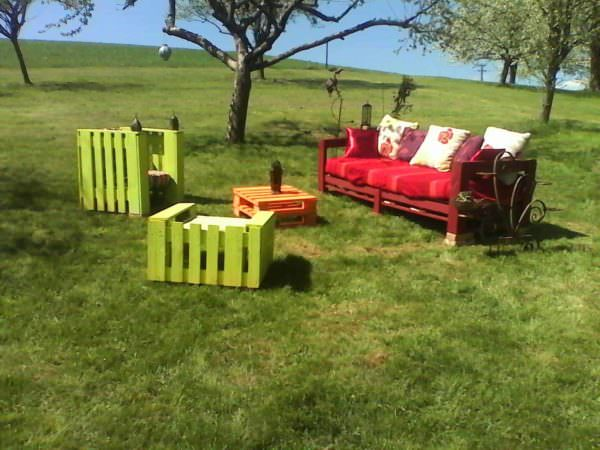 Salon De Jardin En Palettes / Colorful Pallets Garden Set Lounges & Garden Sets
