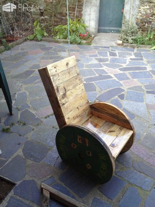 Upcycled Pallet And Reel Into Armchair Pallet Benches, Pallet Chairs & Pallet Stools