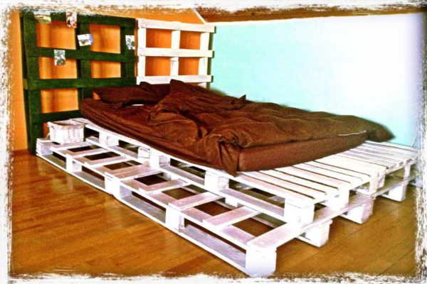 White Pallet Bed DIY Pallet Bedroom - Pallet Bed Frames & Pallet Headboards