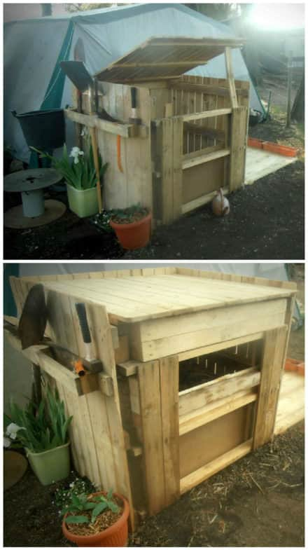 Easy Upcycled Pallet Into Compost Bin